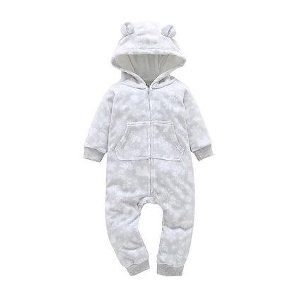 Grey Flower Print Hooded Jumpsuit