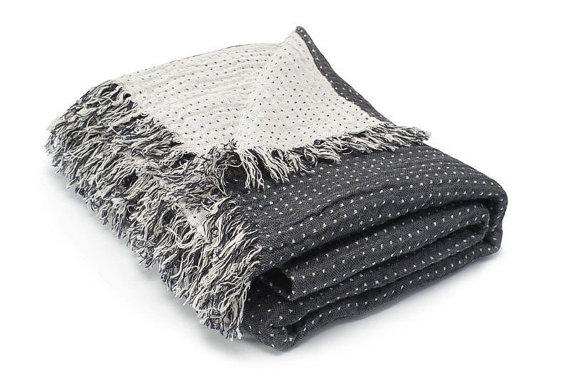 Dark Gray/White Linen Plaid Blanket
