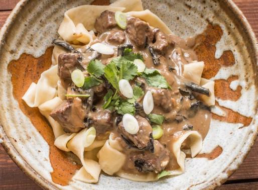 Beef Stroganoff using Sabarot Dried Mixed Wild Mushrooms