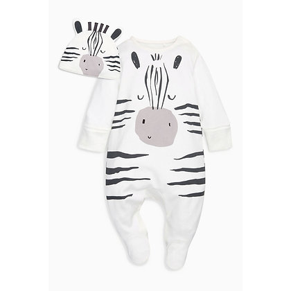 Zebra Onsie with Cap