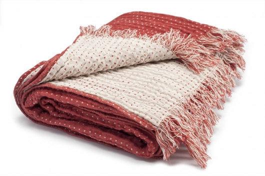 Rust Red/White Linen Plaid Blanket