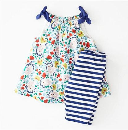 Baby Girl 2 pce Set - Flower/Blue Stripe