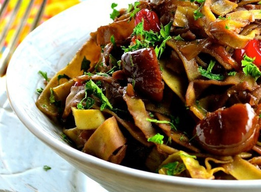 MUNG BEAN PASTA WITH CARAMELIZED ONIONS & CHESTNUTS