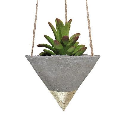 Hanging Planter - Concrete/Gold