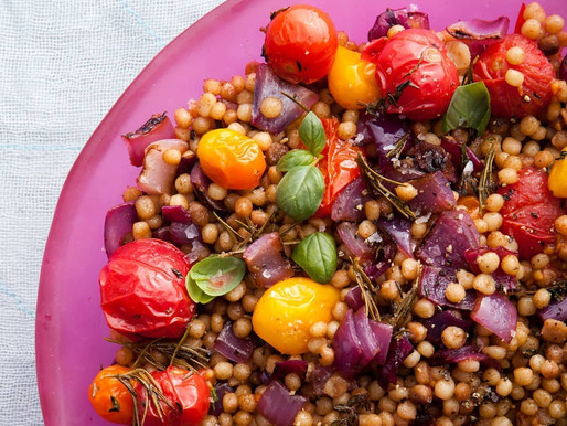 FREGOLA WITH CHARRED ONION AND ROASTED CHERRY TOMATOES