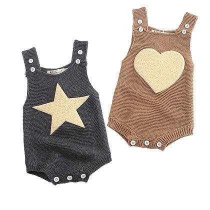 Knitted Heart & Star Romper