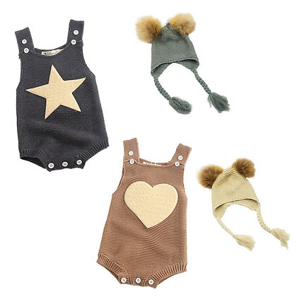 Heart or Star Romper with matching Pom Pom Hat