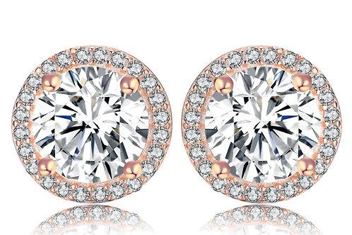 Sterling Silver Rose Gold Halo Stud Earrings