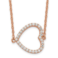 Sideways Heart Rose Sterling Silver CZ Necklace