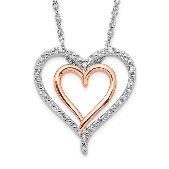 Heart Sterling and Rose Diamond Necklace