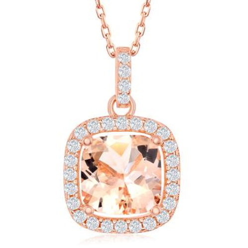 Rose Gold Halo Morganite Pendant