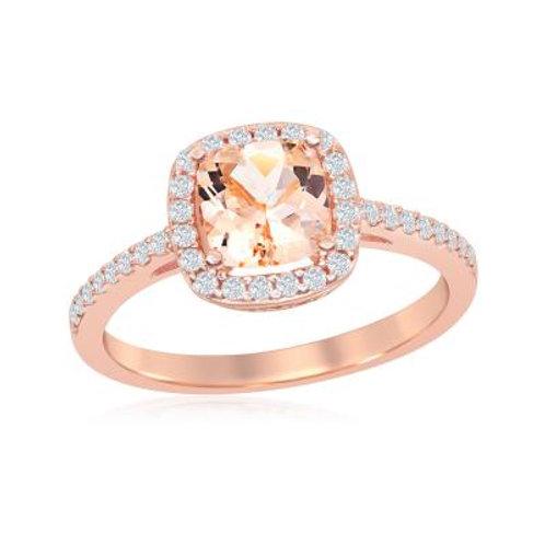 Rose Gold Halo Morganite Ring