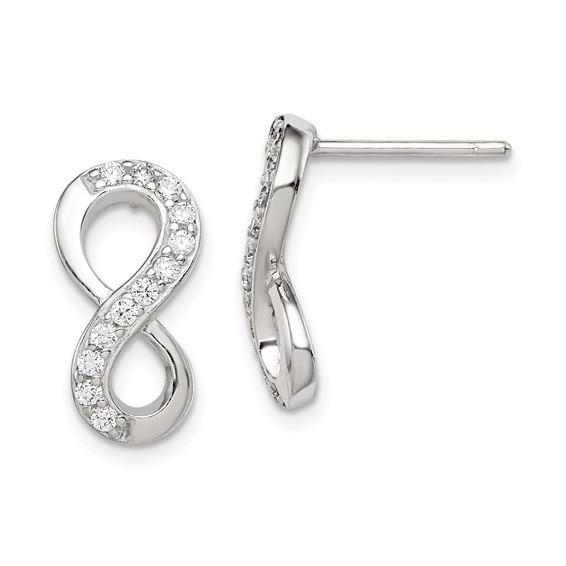 Infinity Sterling Silver CZ Earrings