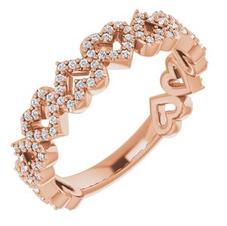 14k Rose Gold Diamond Heart Ring