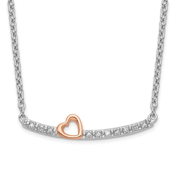 Heart Bar Sterling and Rose Diamond Necklace
