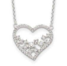 Heart Sterling Silver CZ Necklace