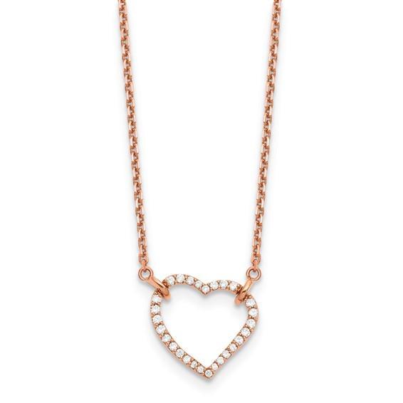 14k Rose Gold Diamond Heart Necklace