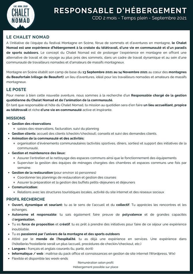 CDD Beaufortain Responsable Hebergement Auberge Maison d'hôtes