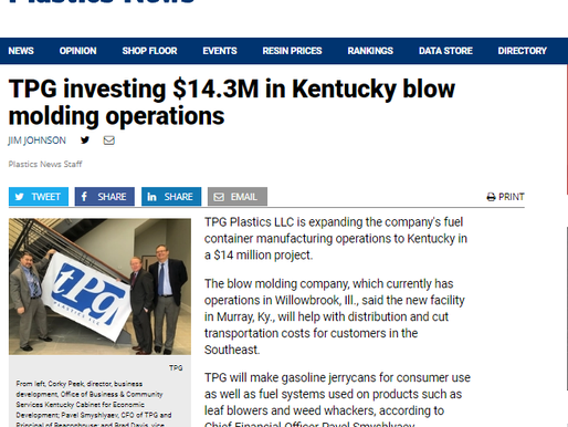 TPG investing $14.3M in Kentucky blow molding operations