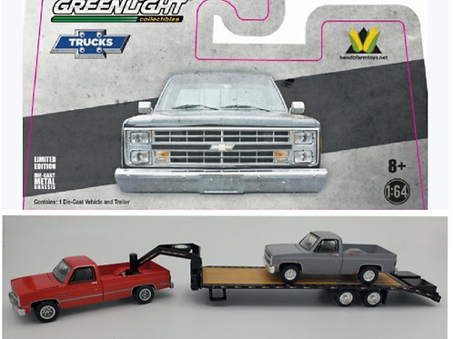 1982 Chevy (Red) + Black Gooseneck + Project Truck