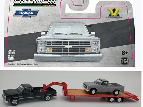 1982 Chevy (Black) + Red Gooseneck + Project Truck