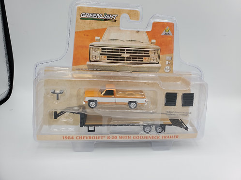 Hitch and Tow 1984 Chevy Squarebody K20 Orange with Silver Gooseneck