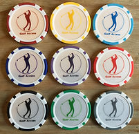 Poker chip ball markers representing the 9 coloured levels of Golf Access +