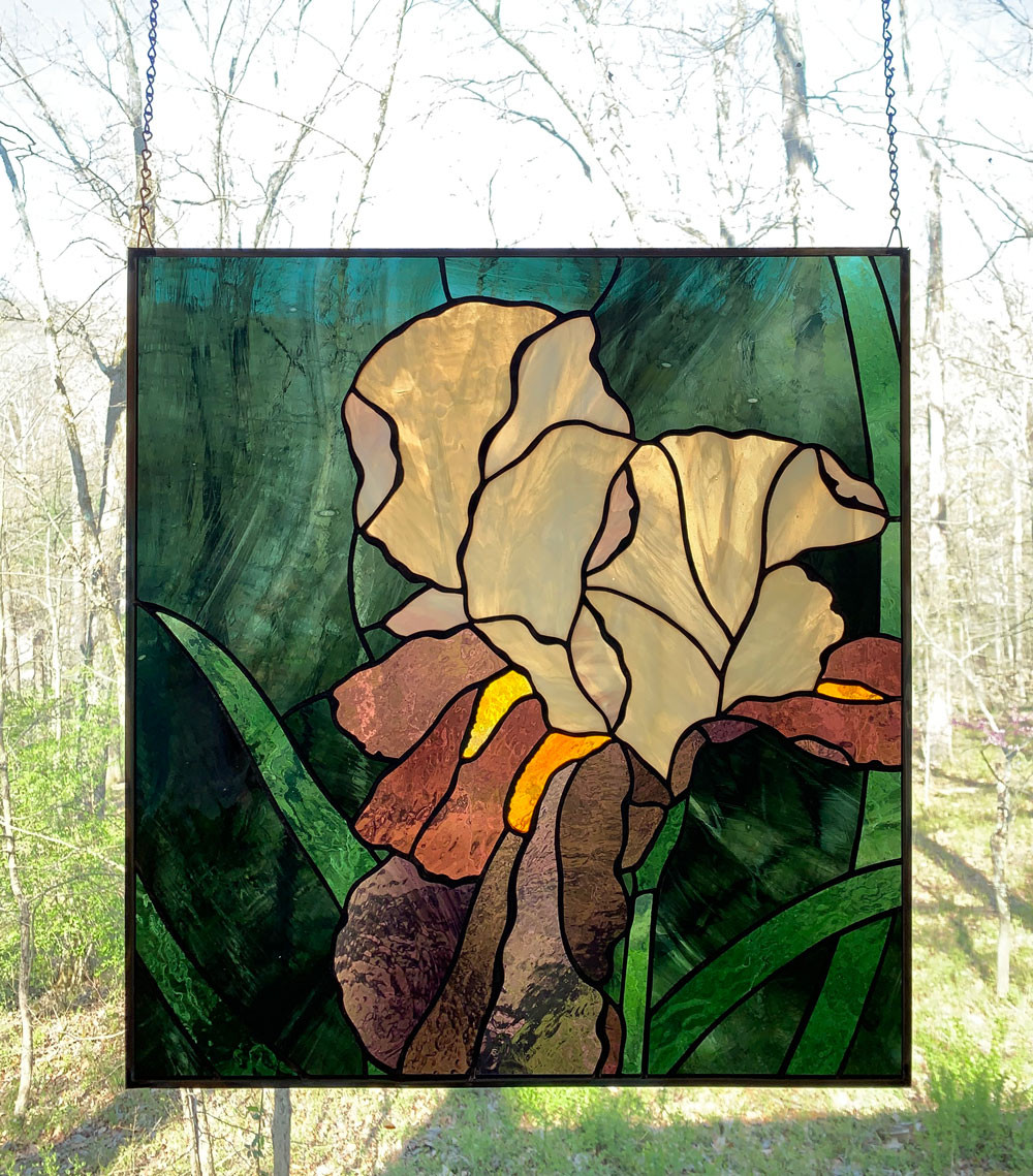 stained glass irises by Anne Ryan Miller