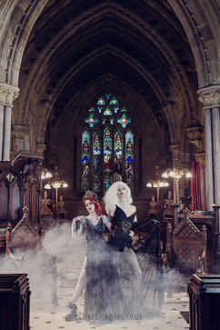 Photography, edit: ClickClickBang Photography http://www.clickclickbang.co.uk/ Outfit: Holly Rafaela Crown: Pendulous Threads Crown: Hysteria Machine Wig: Wigs and Grace MUA: Myself Location: Todmorden Unitarian Church