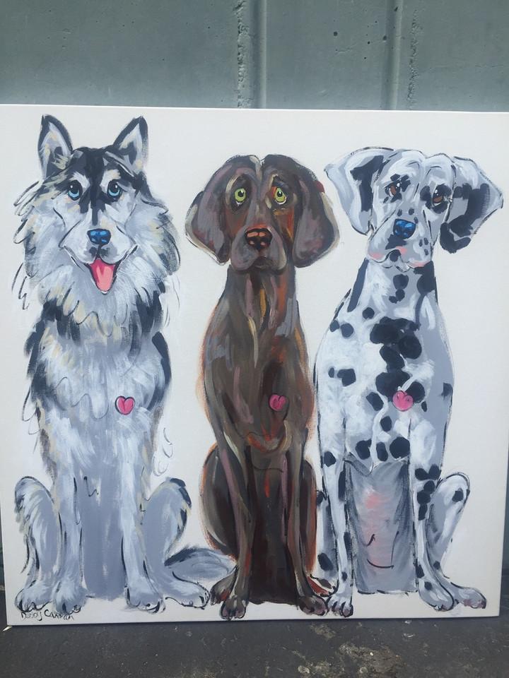 Custom 3 Dog Portrait
