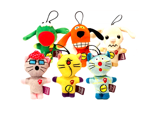 Multipet Assorted Bowzers and Meowzers™ Multicolor Squeaky Plush Toys, Small