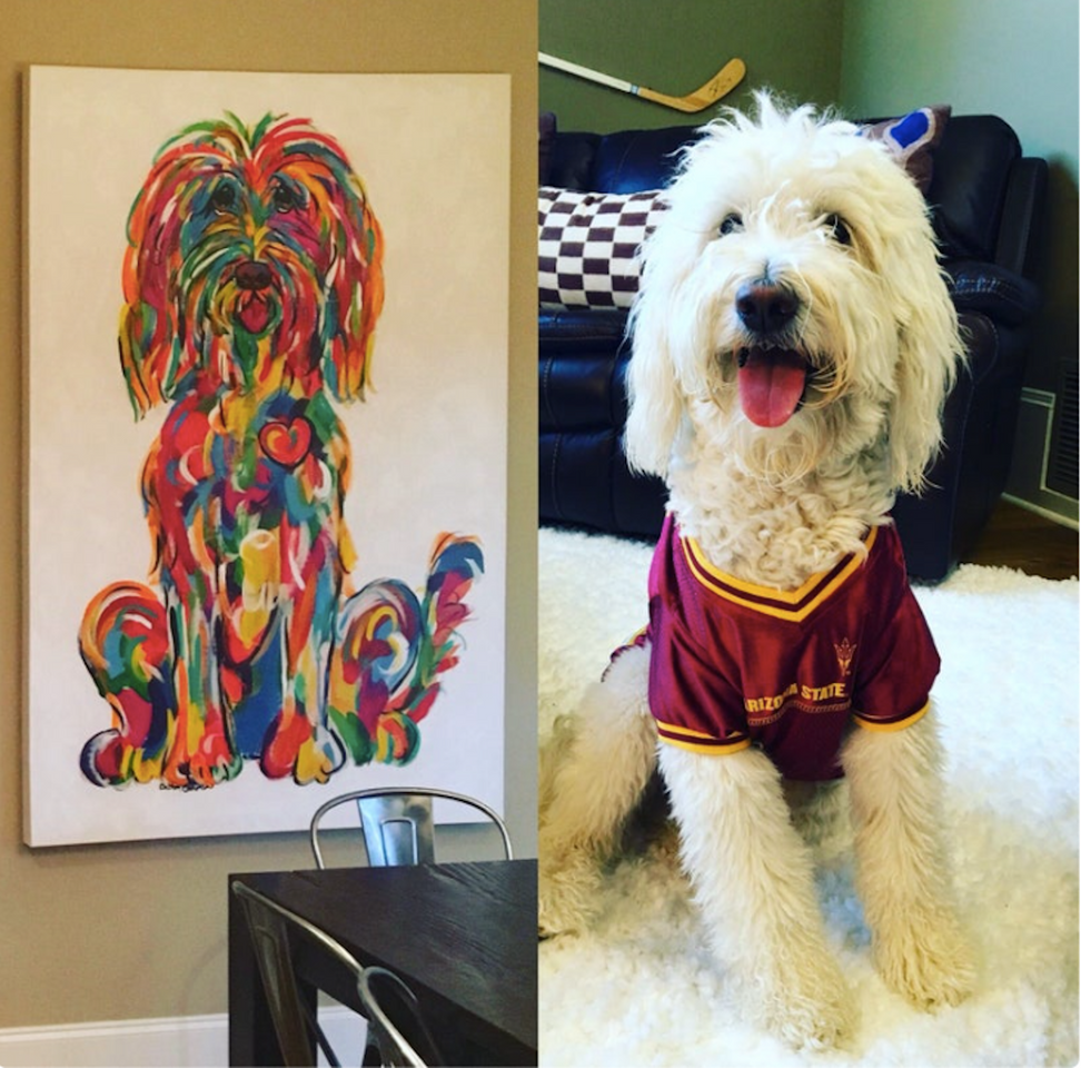 Labradoodle Rainbow Style Painting