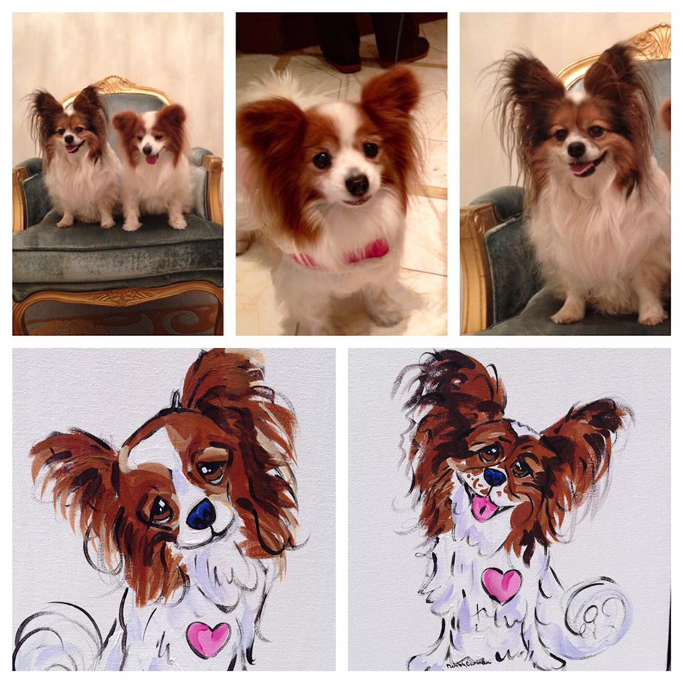 PAPILLON CUSTOM PORTRAIT ON STRETCHED CA