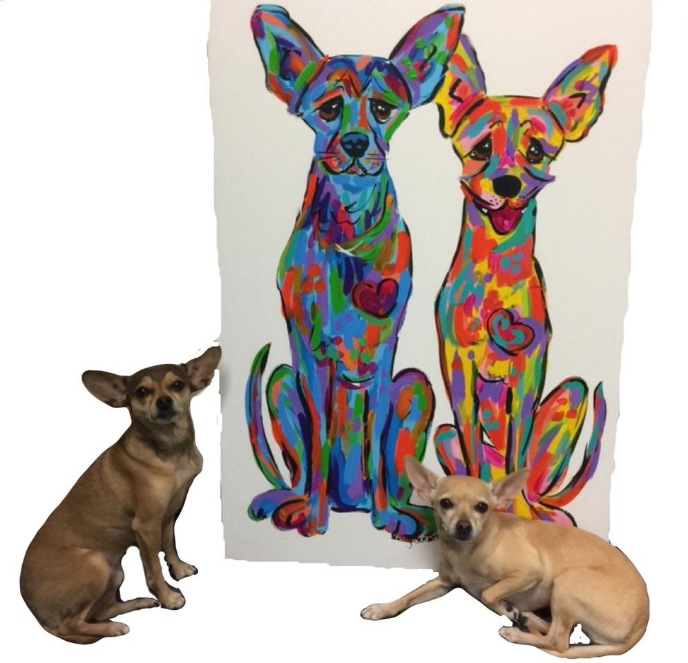 Custom Chihuahua Portrait in Rainbow Pal