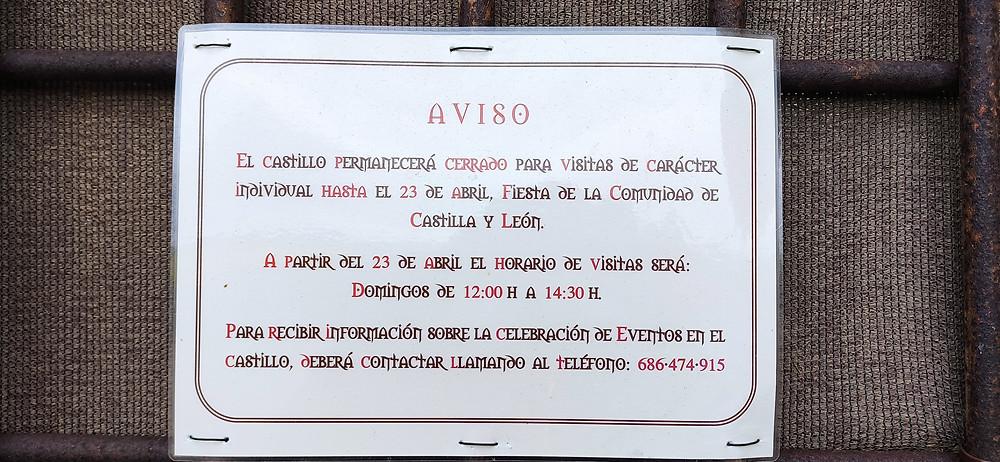 Horarios de visita al castillo de Villalonso