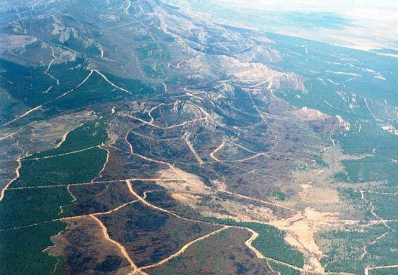Vista aérea de la zona afectada por el incendio del Teleno