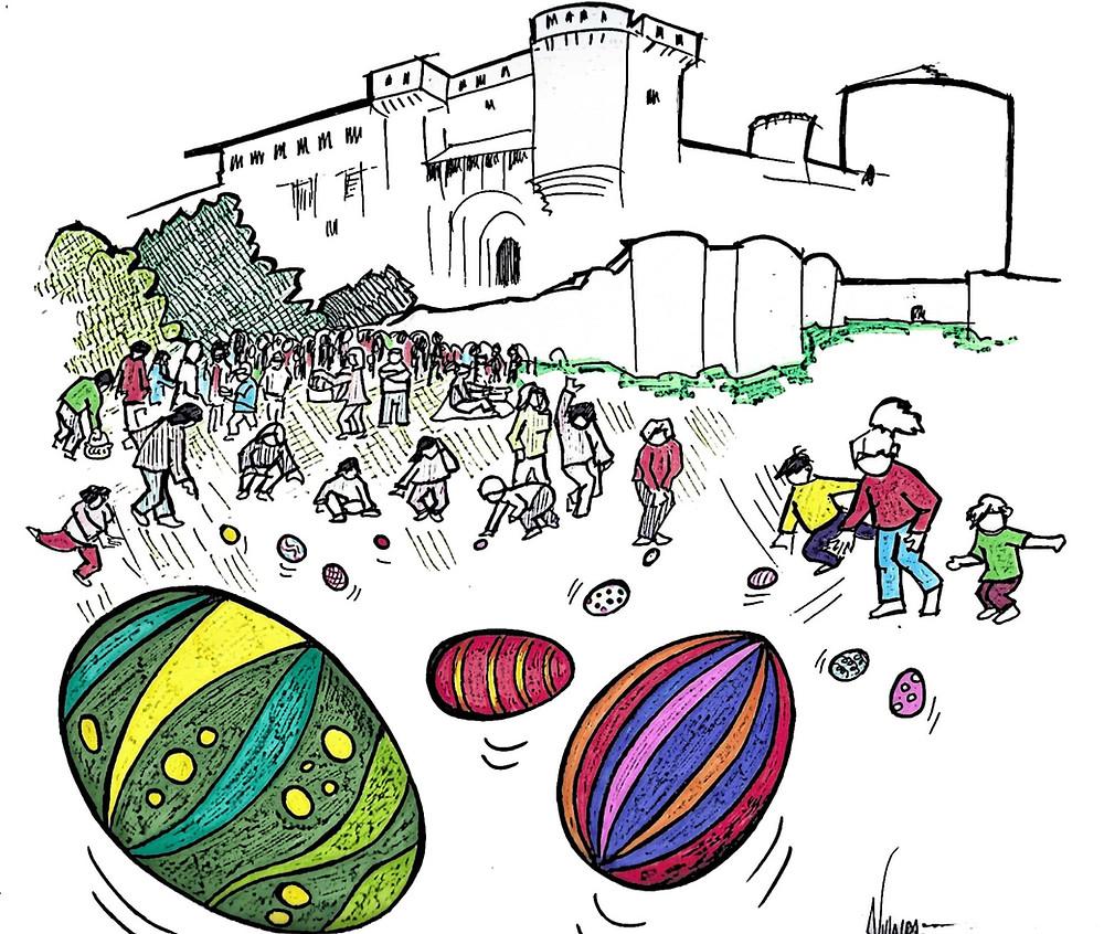 """La tradición de """"rodar el huevo"""" en Cuéllar en Pascua"""