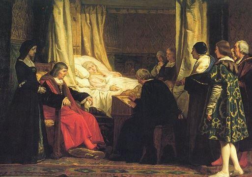 Doña Isabel la Católica dictando su testamento por Eduardo Rosales
