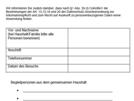 Datenerhebung nach der Corona-Kontakt- und Betriebsbeschränkungsverordnung (CoKoBeV)