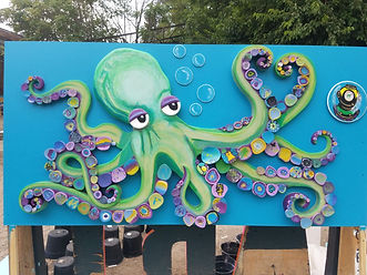 Inky the Octopus 144 kids painted the spots