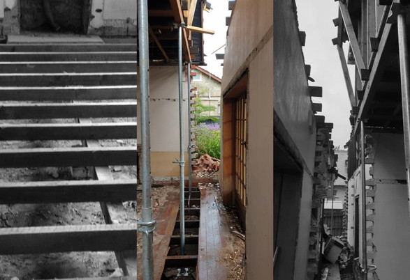 Photo collage of partial demolition in Kew