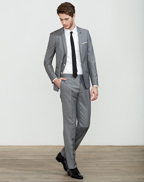 veste agrmente dun pins blason amovible pantalon poches italiennes et fermeture zippe - Izac Costume Mariage