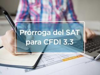 Nueva prórroga del SAT para versión 3.3 de CFDI