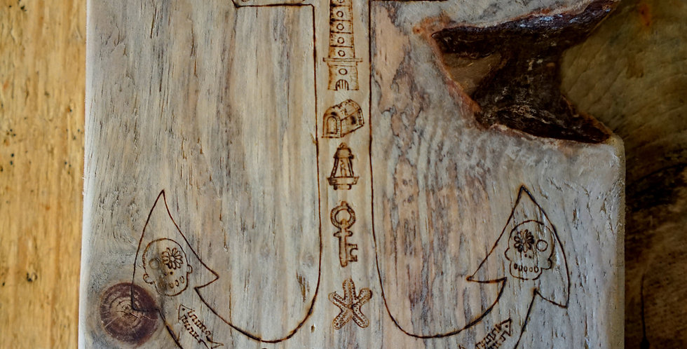 Anchor with Pirate Style Doodles on Cornish Driftwood Plank