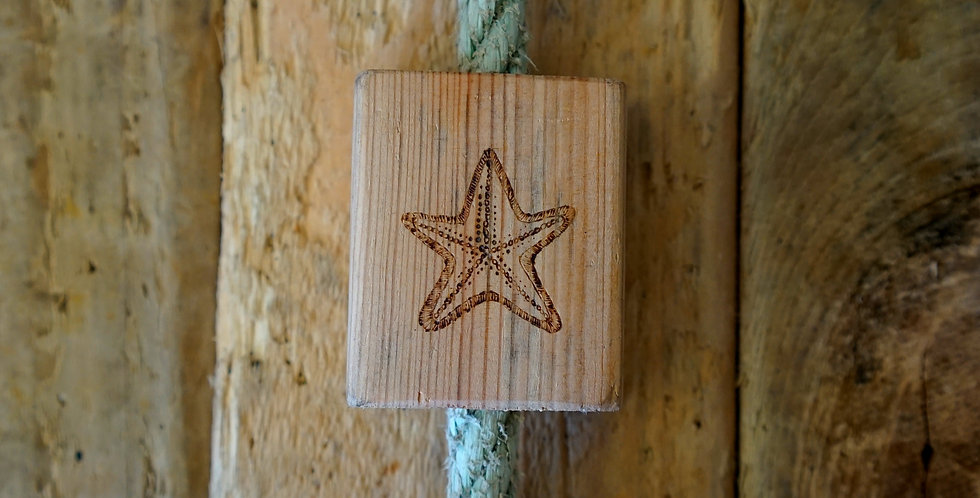 Trio of Cornish Driftwood Blocks Strung with Driftwood Rope
