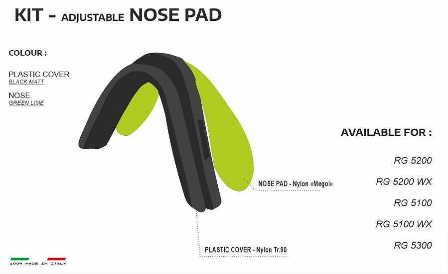 NOSE PADS BLACK GREEN LIME