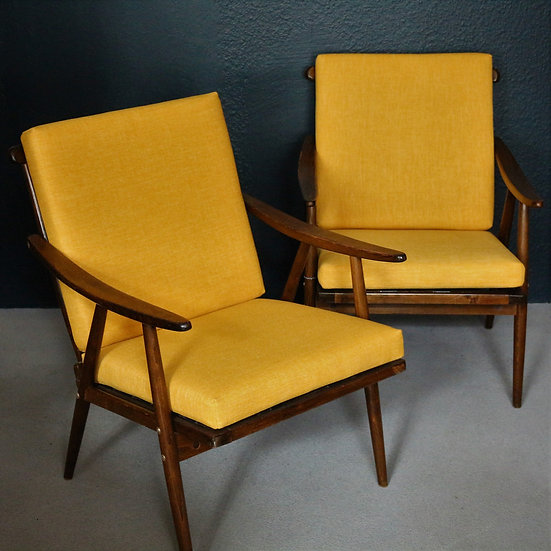 mid-century loungesessel   sonnengelb