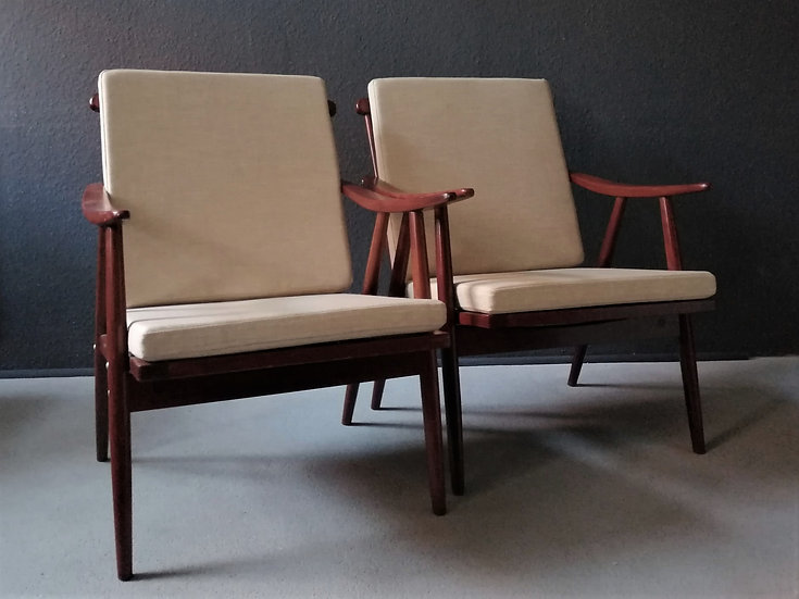 mid-century loungesessel | beige
