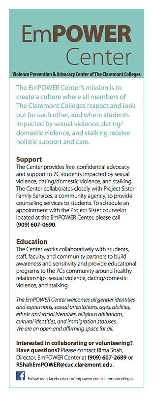 Claremont Colleges' EmPOWER center for survivors of sexual assault information flyer