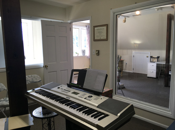 voice studio with keyboard looking out.J